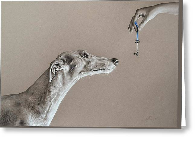 Greyhound Dog Greeting Cards - The key of sincerity Greeting Card by Elena Kolotusha