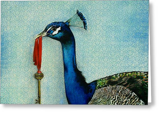 Peacock Greeting Cards - The Key To Success Greeting Card by Carrie Jackson