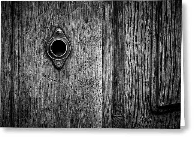 Old Door Greeting Cards - The Keyhole Greeting Card by Pech Frantisek