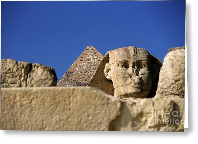 Archaeology Archeological Greeting Cards - The Khephren Pyramid and The Great Sphinx of Giza Greeting Card by Sami Sarkis