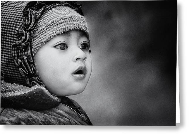 Nepal Greeting Cards - The Kid From Sarangkot Greeting Card by Piet Flour