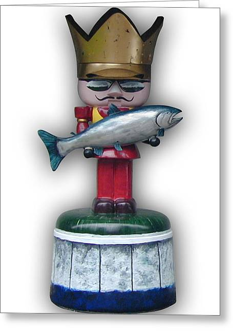 Salmon Sculptures Greeting Cards - The King and I Greeting Card by Paul Illian