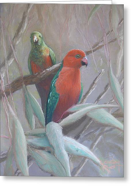 Pair Pastels Greeting Cards - The King and Queen - King parrots Greeting Card by Leigh Rust