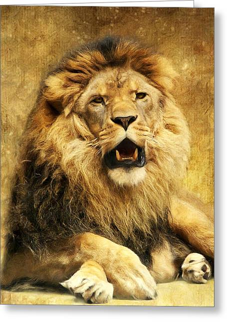 Lion Greeting Cards - The King Greeting Card by Angela Doelling AD DESIGN Photo and PhotoArt