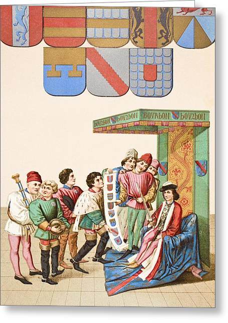 Chevalier Drawings Greeting Cards - The King At Arms Shows The Duc De Greeting Card by Ken Welsh