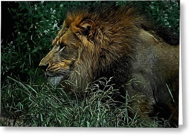 Wildcats Digital Greeting Cards - The King Digital Art Greeting Card by Ernie Echols