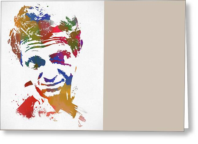 Fame Mixed Media Greeting Cards - The King Of Cool Paint Splatter Greeting Card by Dan Sproul