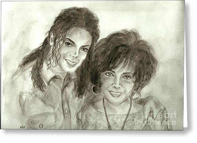 Mj Paintings Greeting Cards - The King of Pop and Elizabeth Taylor Greeting Card by Nicole Wang