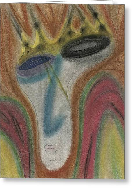 Seen Pastels Greeting Cards - The King Sees All Greeting Card by David Jacobi