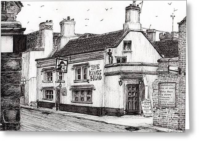 Public House Greeting Cards - The Kings Head Greeting Card by Vincent Alexander Booth