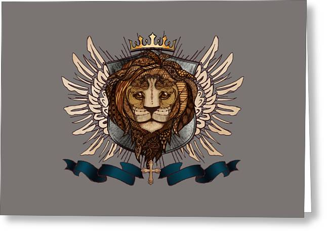 The King's Heraldry II Greeting Card by April Moen