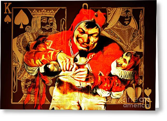 Playing Cards Greeting Cards - The Kings Jester 20150707 Greeting Card by Wingsdomain Art and Photography