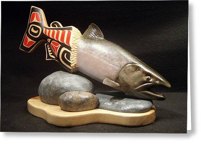 Salmon Sculptures Greeting Cards - The Kings Return Greeting Card by Eric Knowlton