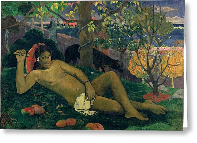 Mango Paintings Greeting Cards - The Kings Wife Greeting Card by Paul Gauguin