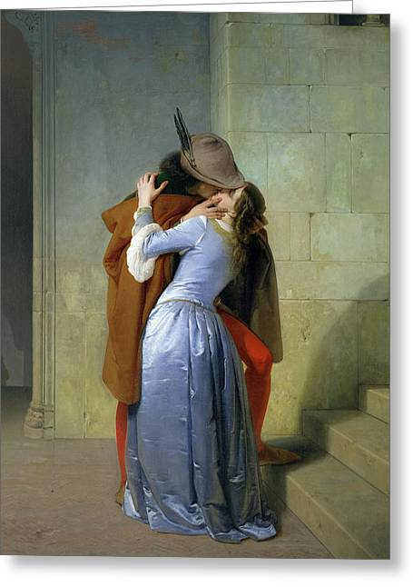 Holding Paintings Greeting Cards - The Kiss Greeting Card by Francesco Hayez