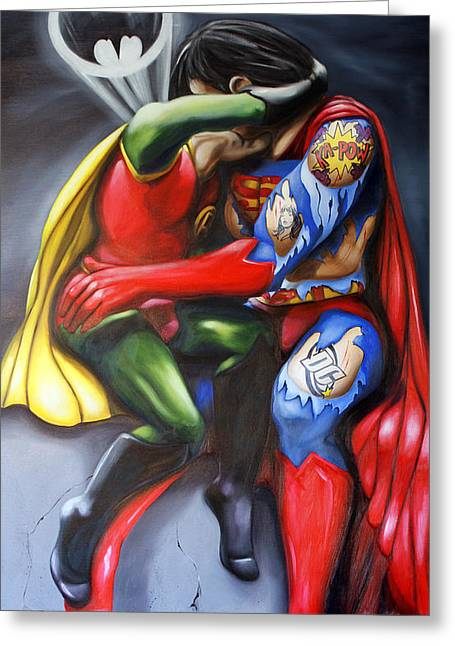 Superman Paintings Greeting Cards - The Kiss Greeting Card by Matthew Lake