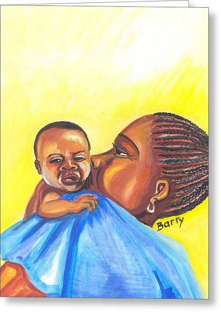 Emmanuel Baliyanga Greeting Cards - The Kiss of A Mother in Senegal Greeting Card by Emmanuel Baliyanga