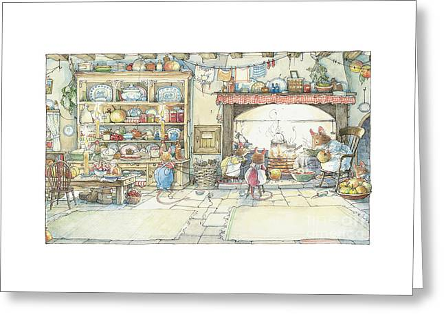 The Kitchen At Crabapple Cottage Greeting Card by Brambly Hedge