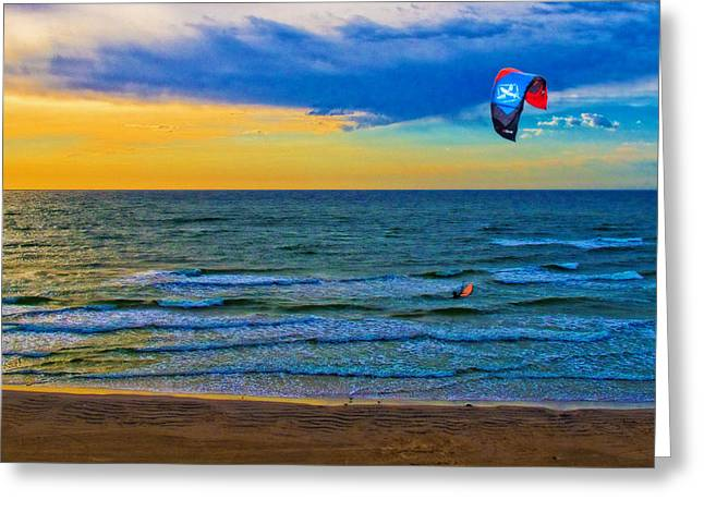 Kite Greeting Cards - The Kite Surfer and His Early Morning Ride After His PU Was Stolen Greeting Card by Chas Sinklier