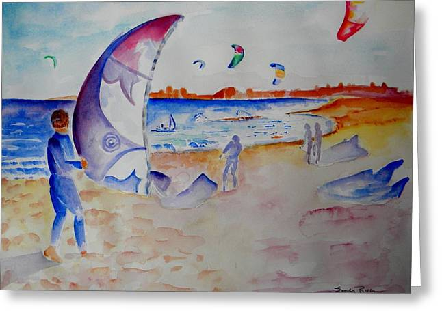 The Kiteboarders Greeting Card by Sandy Ryan
