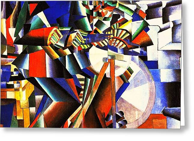 Malevich Greeting Cards - The Knife Grinder Greeting Card by Pg Reproductions