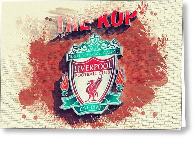 Football Collectibles Greeting Cards - The Kop Greeting Card by Don Kuing