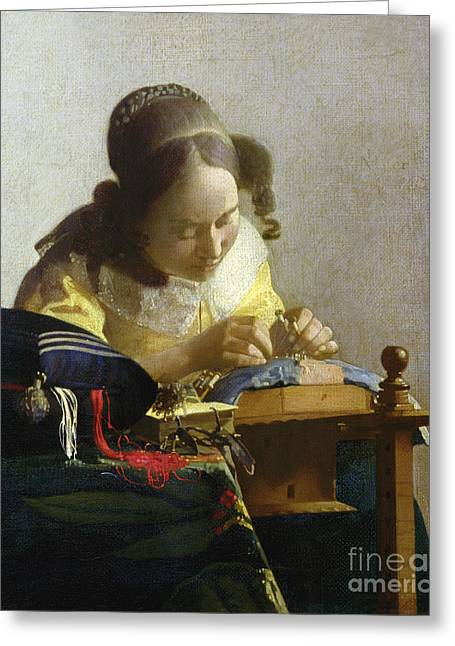 Industry Greeting Cards - The Lacemaker Greeting Card by Jan Vermeer