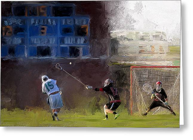 Scott Melby Greeting Cards - The Lacrosse Shot Greeting Card by Scott Melby