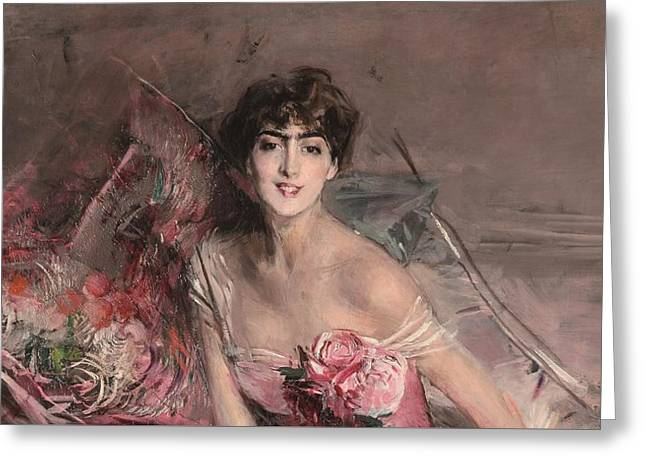 The Lady In Pink Greeting Card by Giovanni Boldini