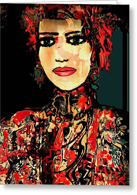 Collar Mixed Media Greeting Cards - The Lady In Red Greeting Card by Natalie Holland