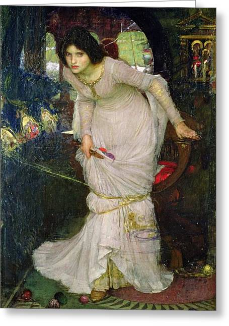 Poem Greeting Cards - The Lady of Shalott Greeting Card by John William Waterhouse