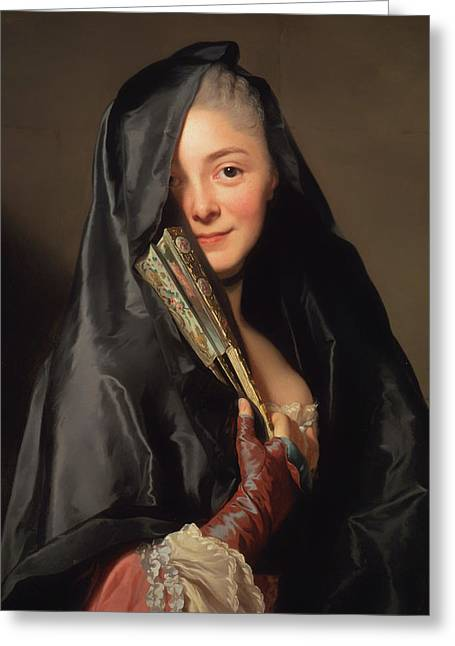 Black Veil Greeting Cards - The Lady With The Veil - The Artists Wife Greeting Card by Alexander Roslin