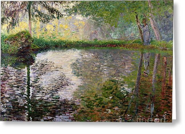 Woman Canvas Greeting Cards - The Lake at Montgeron Greeting Card by Claude Monet