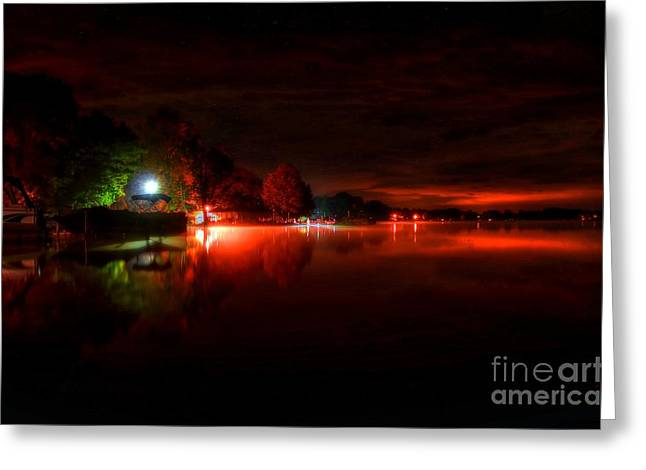 The Lake At Nightfall Greeting Card by Michael Garyet