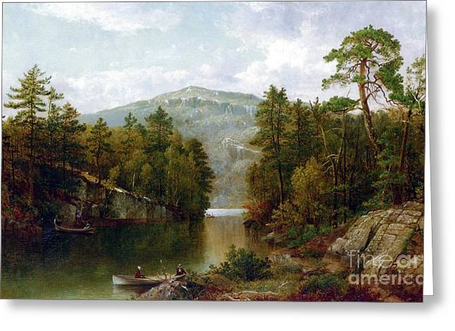 Picturesque Paintings Greeting Cards - The Lake George Greeting Card by David Johnson