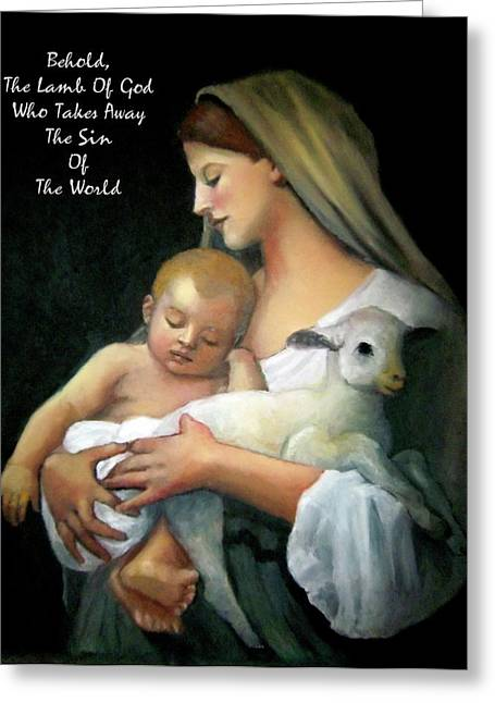 Faith Pastels Greeting Cards - The Lamb Of God Greeting Card by Joyce Geleynse