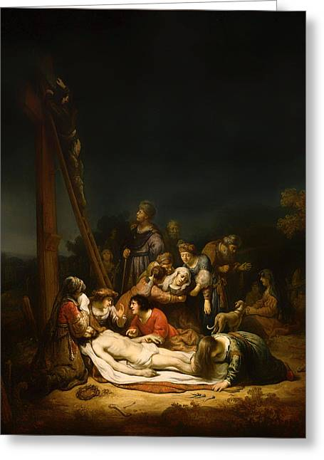 Calvary Greeting Cards - The Lamentation Greeting Card by Govaert Flink