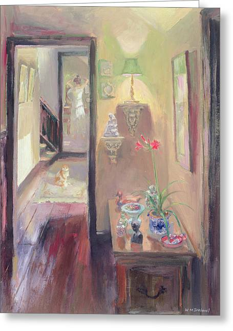Interior Still Life Paintings Greeting Cards - The Lamp Greeting Card by William Ireland