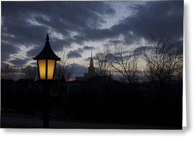 Night Lamp Greeting Cards - The Lamplight Greeting Card by Gloria Pasko