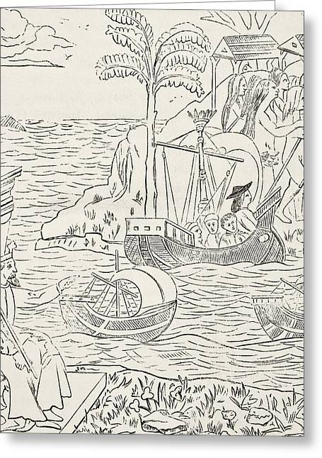 Christopher Drawings Greeting Cards - The Landing Of Christopher Columbus In Greeting Card by Vintage Design Pics