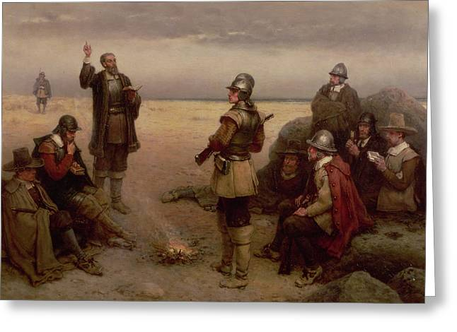 Landing Paintings Greeting Cards - The Landing of the Pilgrim Fathers Greeting Card by George Henry Boughton
