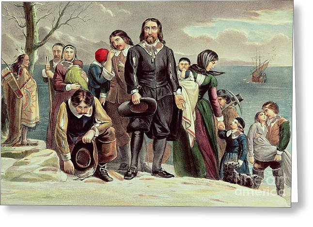Landing Paintings Greeting Cards - The Landing of the Pilgrims at Plymouth Greeting Card by Currier and Ives