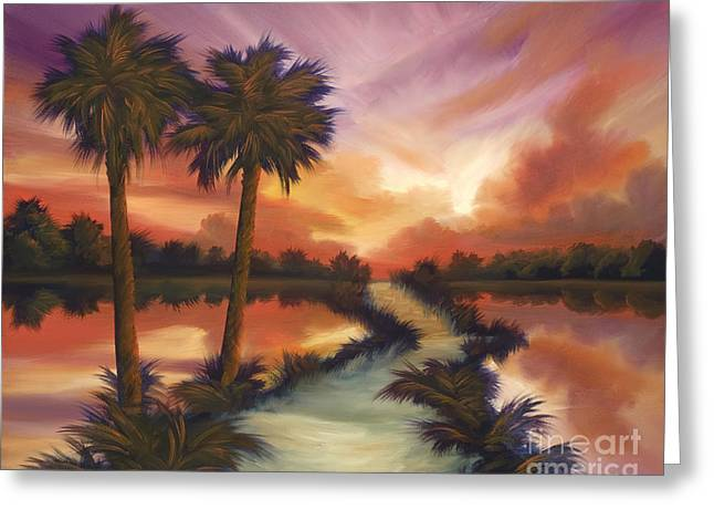 Palmetto Trees Greeting Cards - The Lane Ahead Greeting Card by James Christopher Hill