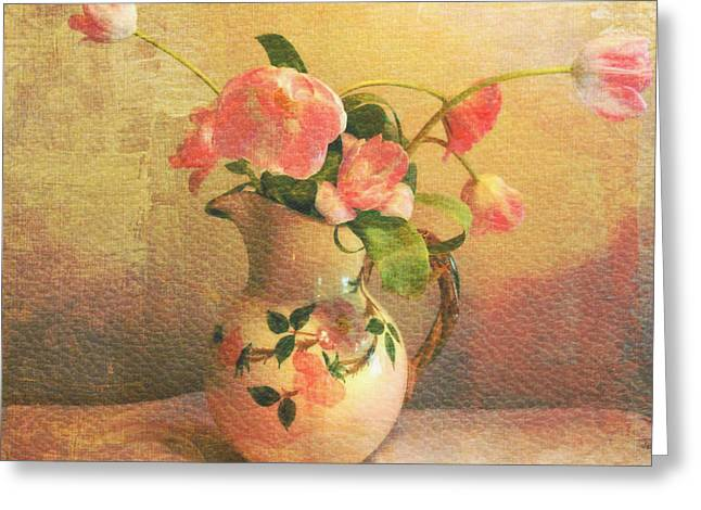 Old Pitcher Greeting Cards - The Language Of Flowers Greeting Card by Kathy Bucari