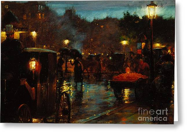 Paris At Night Greeting Cards - The Lanterns. Paris at night Greeting Card by Celestial Images