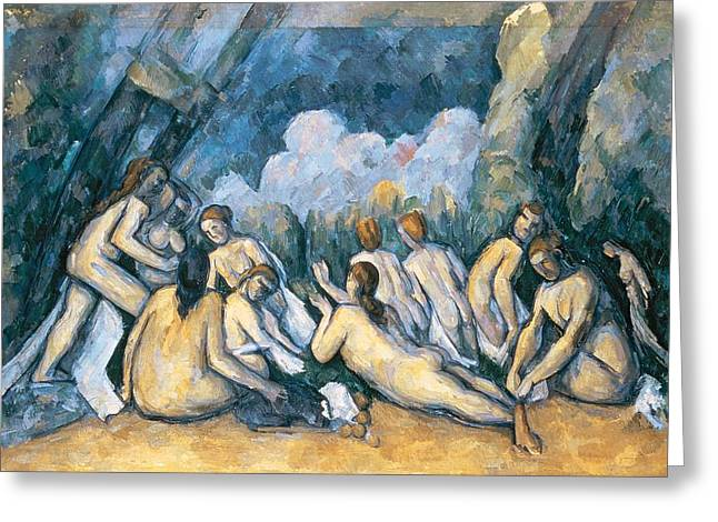 Grande Paintings Greeting Cards - The Large Bathers Greeting Card by Paul Cezanne