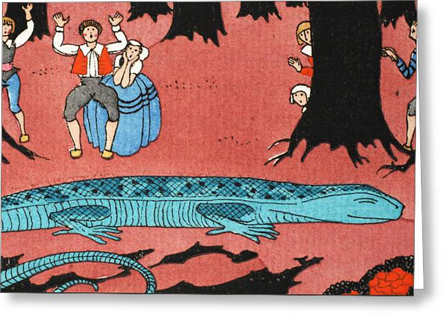 The Large Blue Lizard Greeting Card by Georges Barbier
