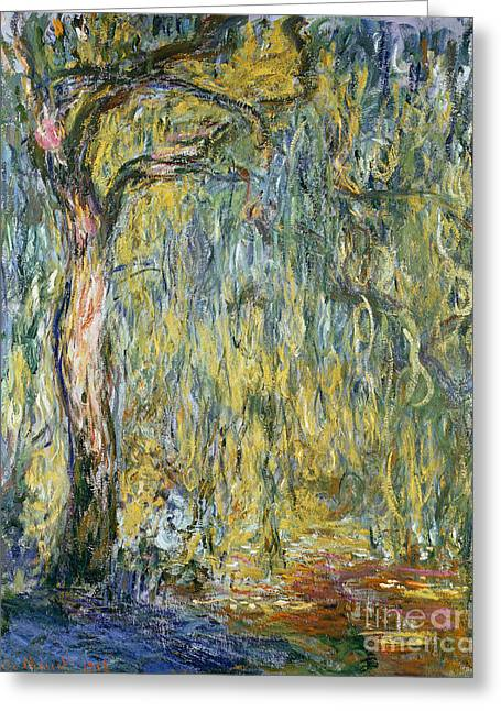 Color Green Greeting Cards - The Large Willow at Giverny Greeting Card by Claude Monet