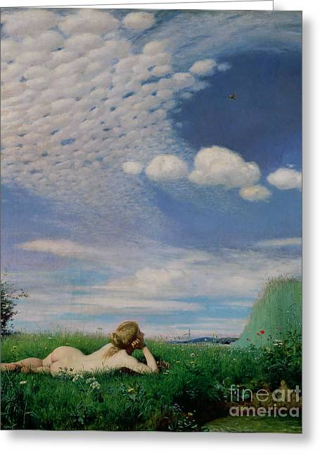 Sunbathing Paintings Greeting Cards - The Lark Greeting Card by Pal Szinyei Merse