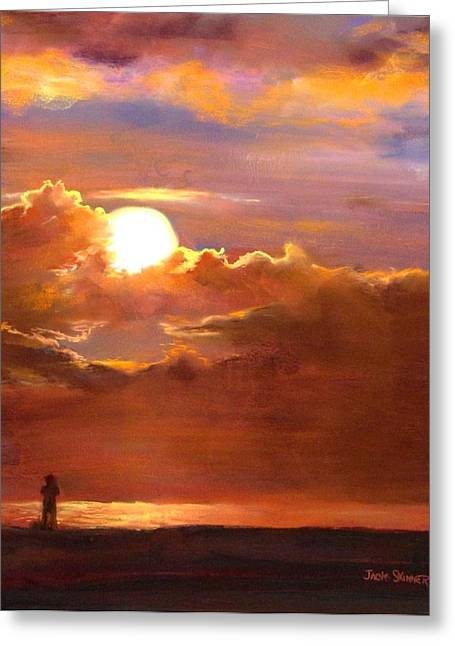 Beach Sunsets Pastels Greeting Cards - The Last Cast Greeting Card by Jack Skinner